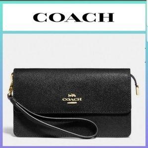 COACH Foldover Wristlet Black Crossgrain Leather